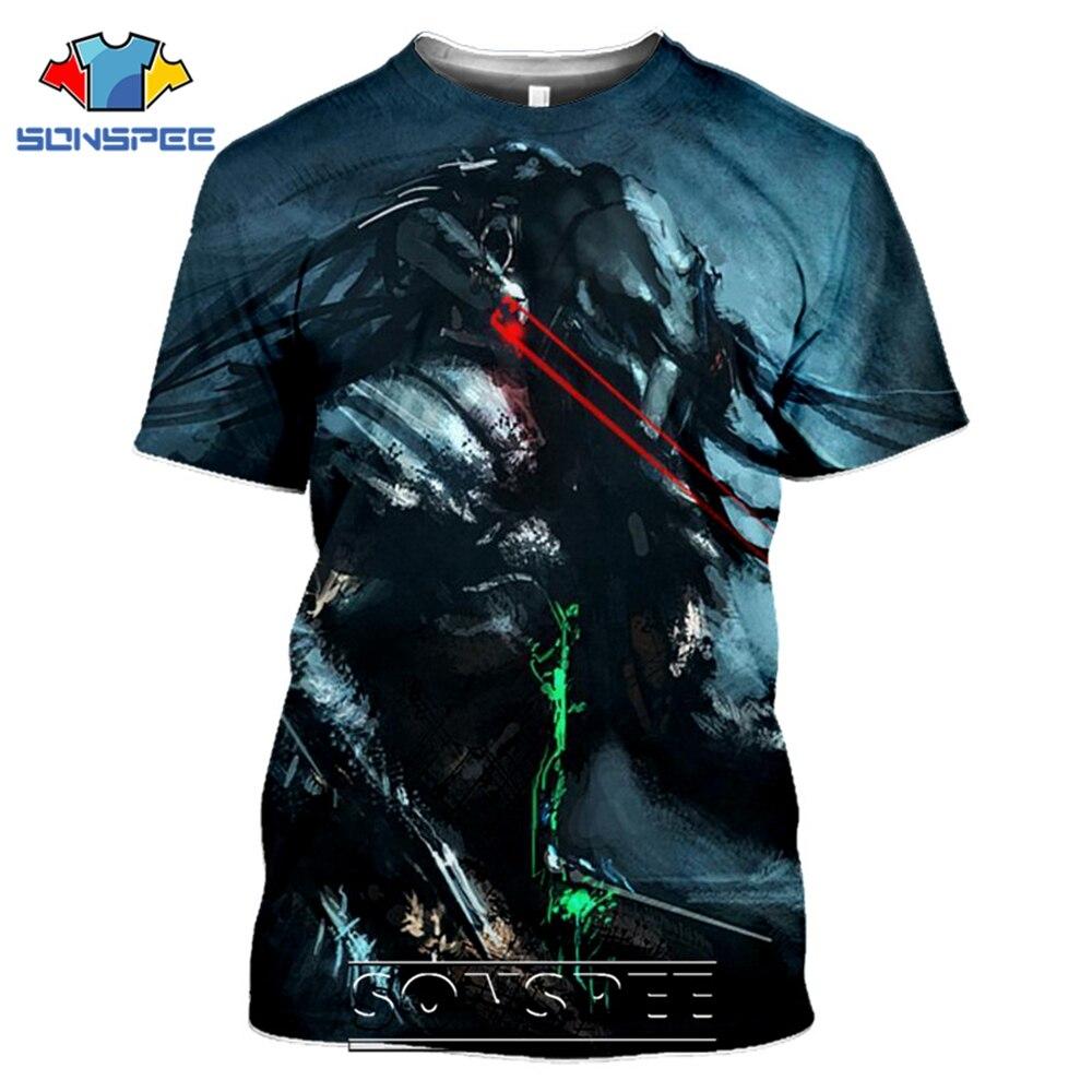 SONSPEE T-shirts Predator 3D Print Men Women Fashion Casual Hip Hop Streetwear Harajuku Funny Aliens Movie Tees Tops Shirt