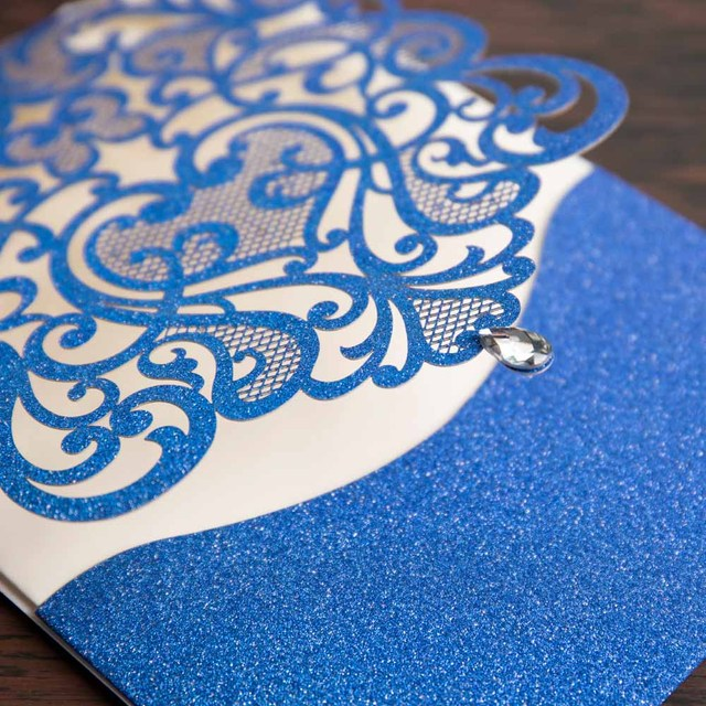 Wishmade 1 pièces échantillon argent paillettes et bleu Royal Laser découpé cartes dinvitation de mariage avec strass pour les faveurs de fête