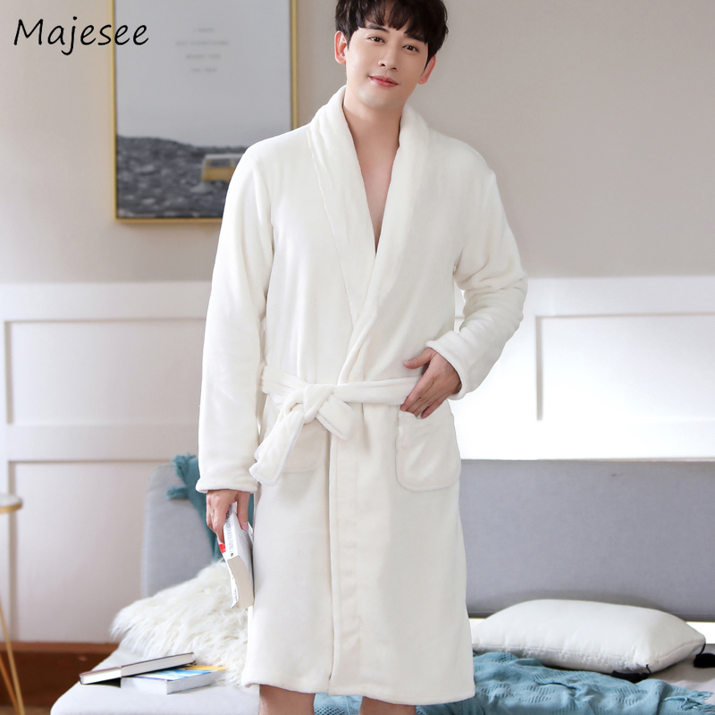 Robe Men Solid Flannel Pocket Winter Plus Size Home Clothes Casual Mens Robes Long Turn-down Collar High Quality Males Warm Soft