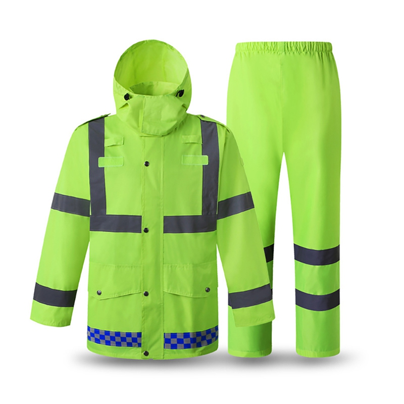 Reflective Rain Suit Hooded Long Sleeve Jacket Pants Kit High Visibility Windproof Waterproof Raincoat Rainwear Suit