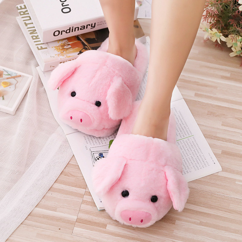 Dropshipping 2019 Winter New Pink Pig House Adult Girl Slippers Lady Warm Cotton Plush Head Silent Indoor Flor Women Shoes