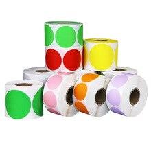 500 sztuk/rolka Chroma etykieta kolor kod Dot samoprzylepne etykiety 1 Cal Seal etykiety księga gości na opakowanie na prezenty papiernicze naklejki