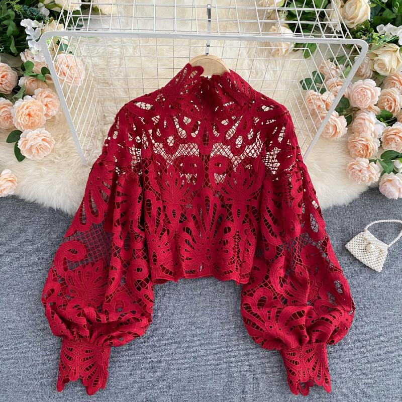 Sexy Lace Hollow Out Short Blouse Casual Lantern Long Sleeve Stand Collar Shirts Female Elegant Red/Pink/White Loose Tops 2020 1