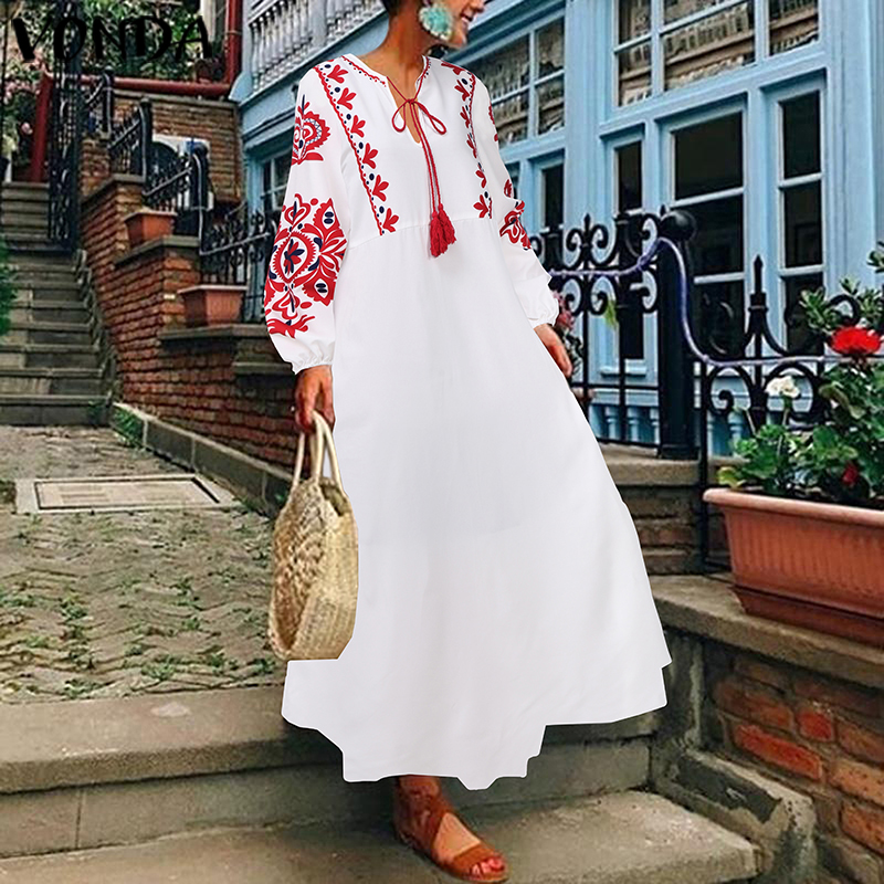 Bohemian Maxi <font><b>Dresses</b></font> VONDA Women's Casual Loose <font><b>Long</b></font> Sleeve Autumn <font><b>Dress</b></font> <font><b>Evening</b></font> Party Vestidos Plus Size <font><b>Sexy</b></font> V Neck Robe 5XL image