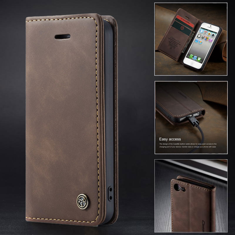 Flip Case For iPhone 5s Cover iPhone 5 s SE Magnetic Matte PU Leather High Quality Vintage Mobile Phone Housing With Card Slot