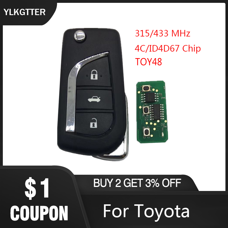 YLKGTTER 3 Button TOY48 Flip Smart <font><b>Remote</b></font> <font><b>key</b></font> for <font><b>Toyota</b></font> Aygo Corolla <font><b>Yaris</b></font> Camry Verso with 315/433 MHz 4D67 ID67 transponder image