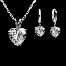 Crystal Necklace Earring Jewelry-Set Bridal-Marriage 925-Sterling-Silver And Heart