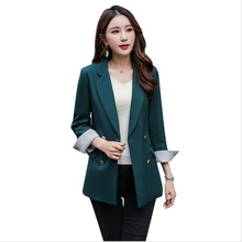 Brieuces Spring Autumn women pink solid double breasted suit jacket designer office ladies blazer pockets work wear tops