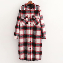 Winter Women Vintage Woolen Coat 2020 Long Plaid Thicken Warm Jacket Blazer Turn-Down collar Female Outwear cheap TF·MLN CASHMERE CN(Origin) XD3225-C109 Ages 18-35 Years Old Single Breasted Regular Full A-Line Wool Blends Sashes 100
