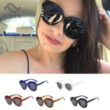 TTLIFE Oversize Sunglasses Women Sun Glasses Round Frame Retro Cat Eye Sunglass Black Fashion Circle Oculos De Sol