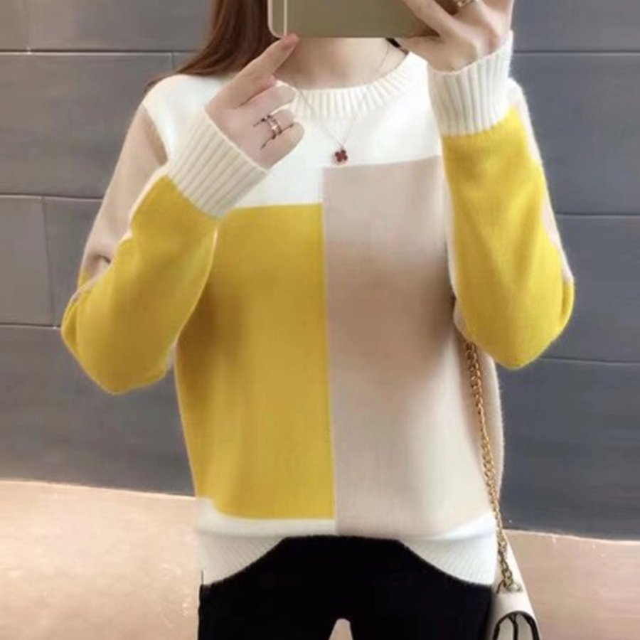O-neck Thicken Warm Loose Sweater Women Casual Autumn Winter Patchwork Bottoming Pullover Tops Female Soft Wild Knitted Tops