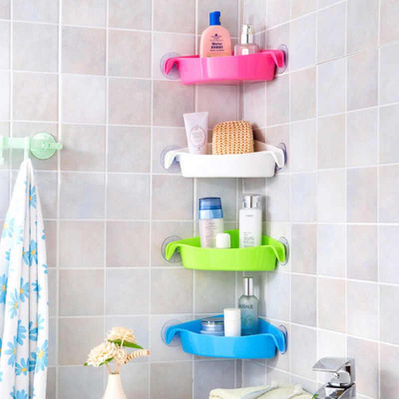 新 4 色浴室コーナー収納ラックオーガナイザーシャワー壁棚吸引カップ家庭の台所浴室棚