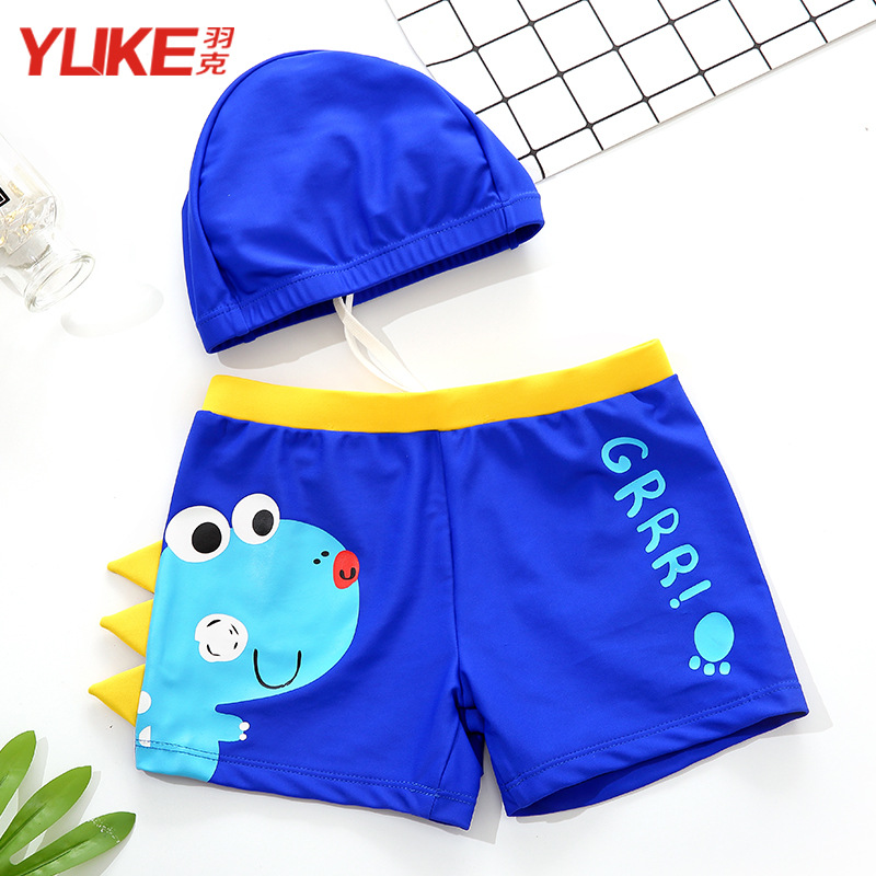 Boxer BOY'S Swimming Trunks Big Boy Children Swimming Trunks Baby Split Type Chinlon Little Dinosaur Bathing Suit Hooded 1-3