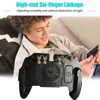 Six Finger Mobile Shooting Game Controller Gamepad Trigger Aim Button L1 R1 Joystick with Cooler Cooling Fan