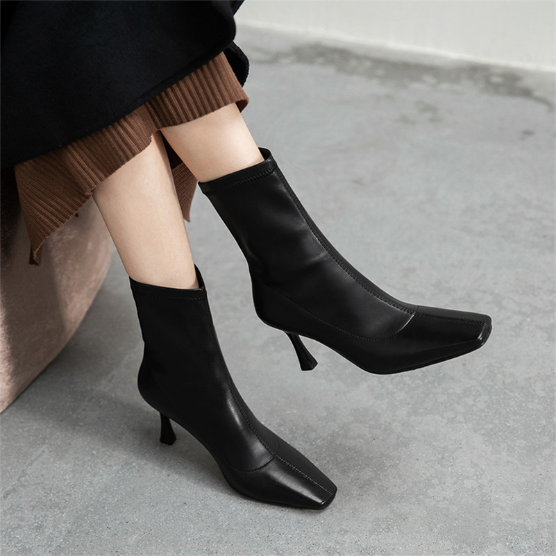 Meotina Women Mid Calf Boots Shoes Genuine Leather High Heel Boots Ladies Square Toe Stiletto Heels Fashion Boots Female Beige