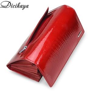 Image 5 - Кожаный кошелек DICIHAYA для женщин, классические длинные бумажники с крокодиловой застежкой, женский клатч с держателем для карт, модные дамские бумажники из воловьей кожи