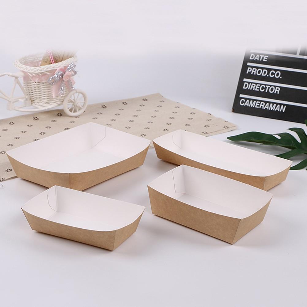 50 pièces étanche à l'huile boîte à gâteaux enduit papier de cuisson plateau alimentaire fournitures de fête pour mariage bébé douche fête d'anniversaire faveurs - 2