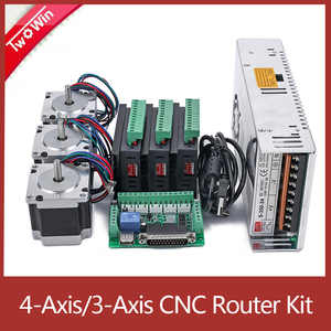 3Axis/4 Axis CNC Router Kit,3PCS TB6600 4A Stepper Motor Driver + 57HS5630A4 Nema23 Motor+ 5 Axis Interface Board+ Power Supply(China)