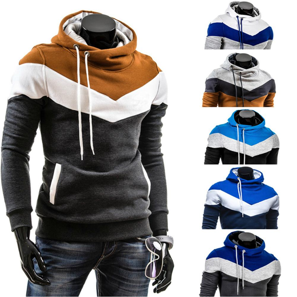 Fashion Men Color Block Patchwork Hooded Long Sleeve Pullover Hoodie Sweatshirt Autumn and winter men's clothing