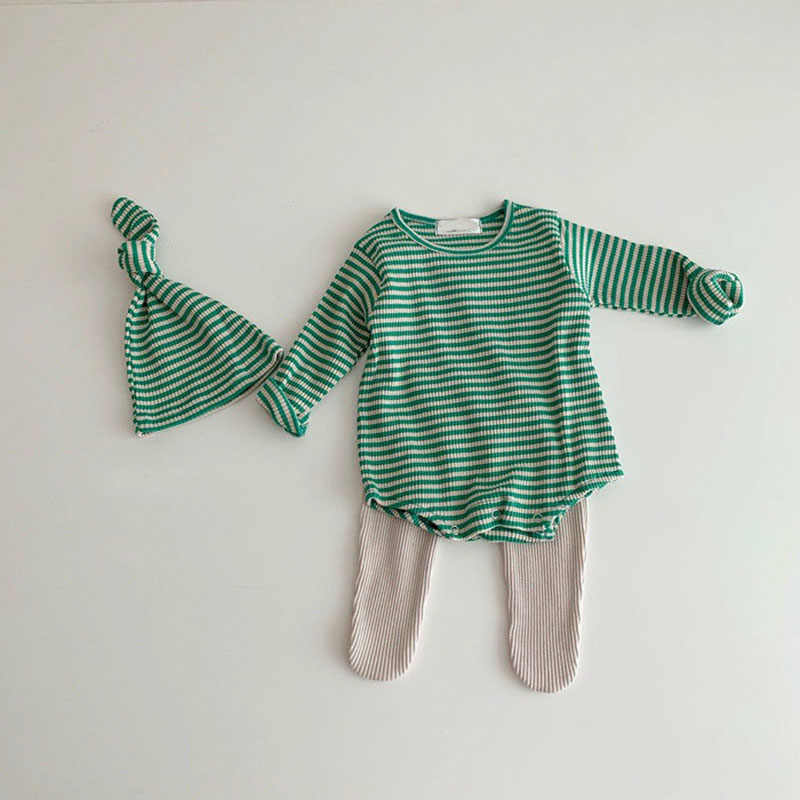 MILANCEL baby bodysuits 스트라이프 프린트 유아 소년 원피스 o 넥 유아 소녀 의류 봄 새 아기 옷