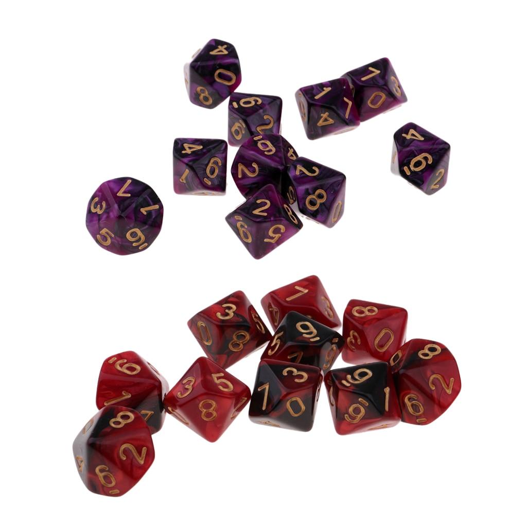 Акриловое волокно 10-Боковые кости многогранные кубики 10-Die D10 для азартных игр, подарок для влюбленных