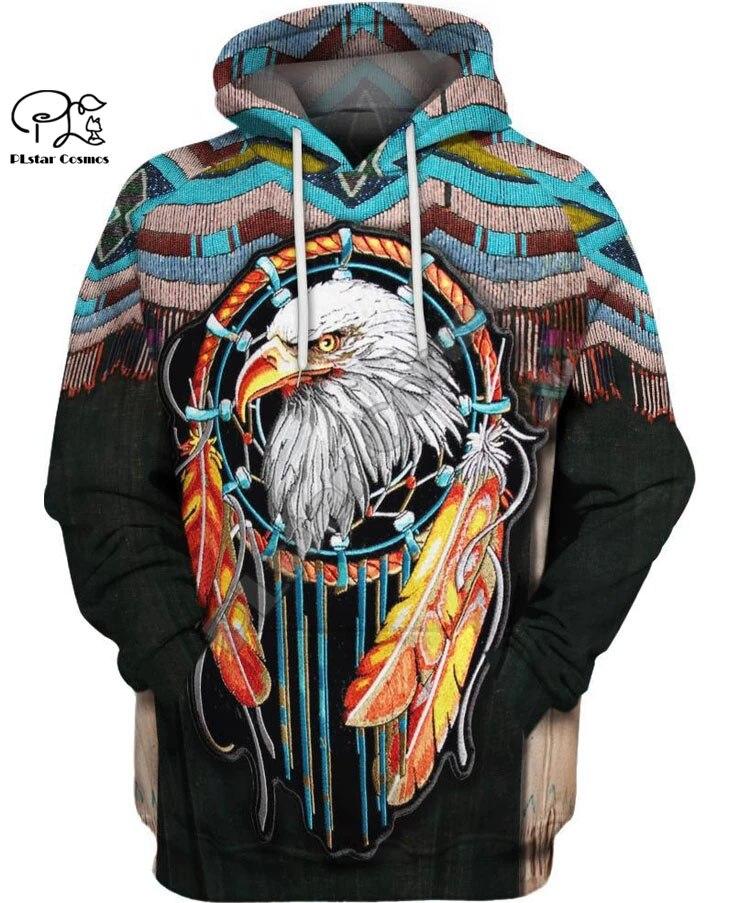 Black Native Indian 3D Hoodie Tee Men Women New Fashion Hooded Sweatshirt Long Sleeve Pullover Style-2