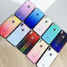 Luxury Glass Case For iPhone 6S 7 8 Plus X Logo Aurora gradient Back Cover 6 S XS MAX XR 7plus 8plus Coque