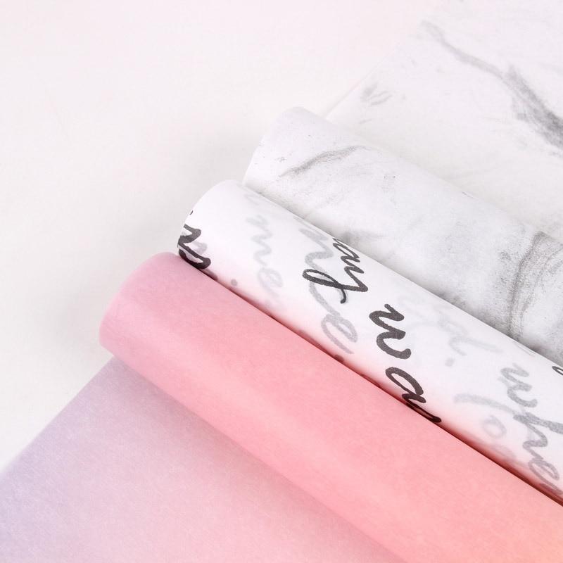 Korean Style New Products Glassine Paper Pattern-Lining Paper Printed Packaging DIY Waterproof Dacal Paper Flower Material Flowe