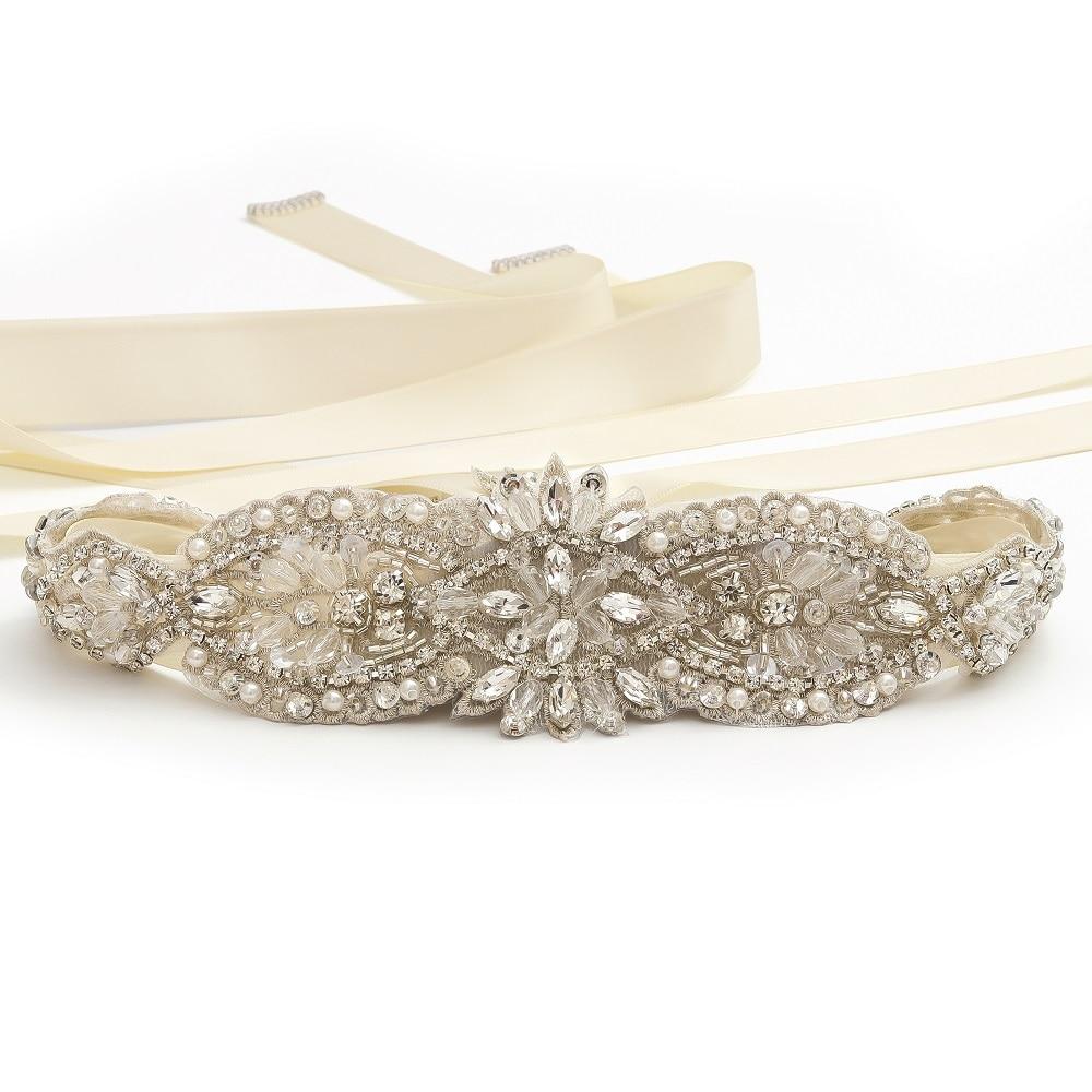MissRDress Handmade Crystal Bridal Belt Rose Gold Rhinestones Wedding Belt Clear Beads Bridal Sash For Wedding Decoration JK864