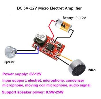 مكبر صوت ميكرو كهربائي 5 فولت-12 فولت تيار مستمر مكثف ميكروفون صغير مكبر صوت المجلس 1