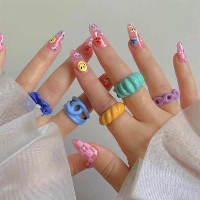 2021 New Trendy Hand-painted Candy Color Dripping Oil Geometric Chain Rings for Women Multicolor Irregular Open Rings Jewelry 5