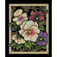 Gold Collection Counted Cross Stitch Kit Pansies on Toile Flower dim 35073