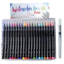 Ручка Акварельная 20 цветов мягкая кисть с головкой ручка для