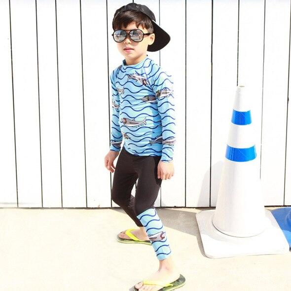 South Korea CHILDREN'S Swimwear BOY'S Big Boy Long Sleeve Trousers Split Type Swimsuit Sun-resistant Students Large Size Diving