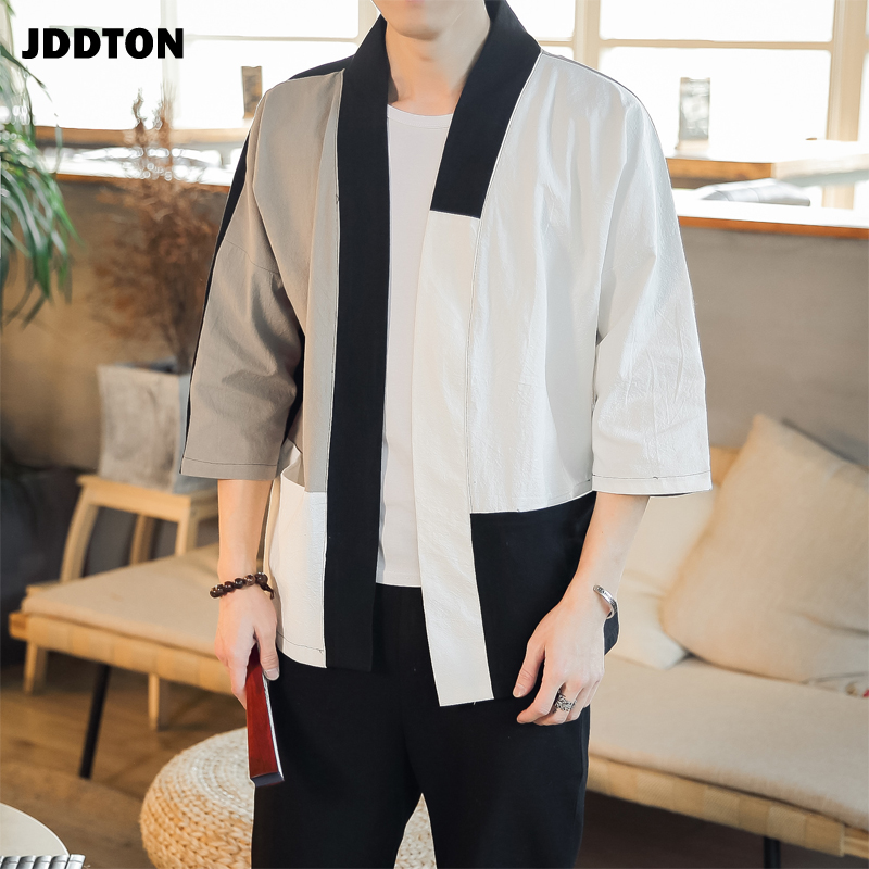 JDDTON Spring Men's Linen Splice Kimono Fashion Loose Long Cardigan Outerwear Vintage Coats Male Jackets Casual Overcoat JE079