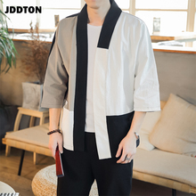 JDDTON Spring Men's Linen Splice Kimono Fashion Loose Long Cardigan Outerwear Vintage Coats Male