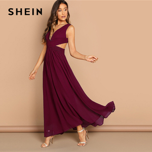 Image 3 - SHEIN Green Plunge Neck Crisscross Waist Ball Dress Elegant Plain Fit and Flare Dress Women Autumn Modern Lady Party Dresses