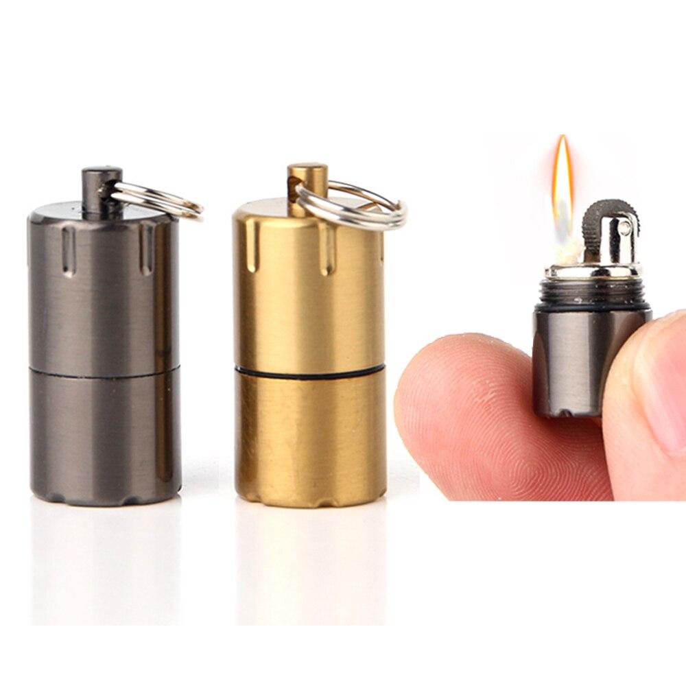Мини керосиновый брелок для ключей с зажигалкой капсула бензиновый огненный стартер Кемпинг компактный шлифовальный сывороточный Зажигал...