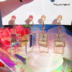HUANZHI 2020 Новые многоцветные акриловые прозрачные Ectangular подвески, длинные серьги-гвоздики для женщин и девочек, ювелирные изделия