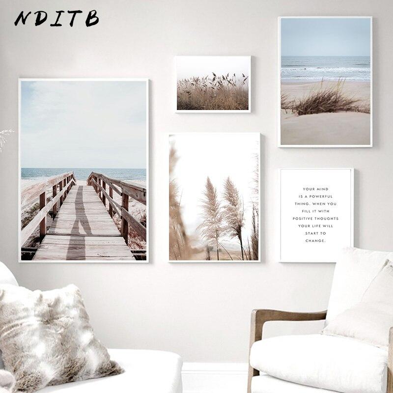Oceano praia ponte pintura da lona nordic poster arte impressão natureza paisagem moderna parede imagem para sala de estar decoração casa