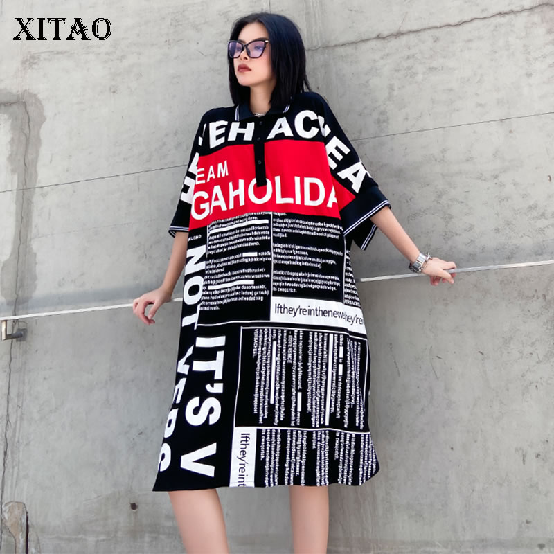 XITAO Plus Size Letter Print Split Dress Women Clothes 2020 Summer New Loose Casual Turn Down Collar Elegant Dress HXM1008(China)