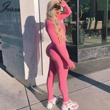 Joskaa Solid Turtleneck Full Sleeve Jumpsuits Women Active Fitness Slim Rompers Zipper Long