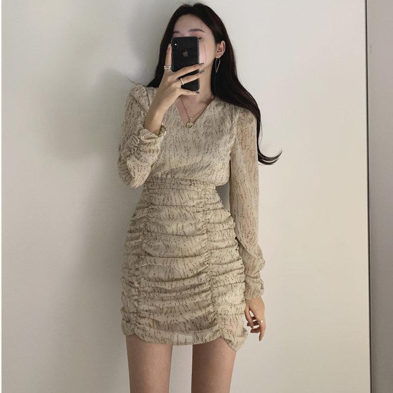 Шифоновое Плиссированное мини платье Alien Kitty, шикарное винтажное офисное платье с высокой талией и v образным вырезом, с цветочным принтом, 2020|Платья|   | АлиЭкспресс