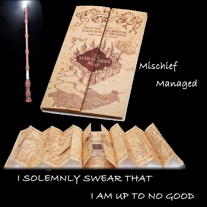 Action The Marauder's Map HP Potter Magic World Map Moony Wormtail Padfoot Prongs Mischief Managed Map Harried Cosplay Show Toys