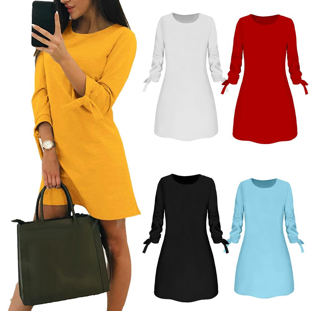 Autumn Winter O-Neck Solid Bow Elegant Straigth Sexy Dress Women Long Sleeve Round Neck Loose Dress With Belt Ropa Mujer платья