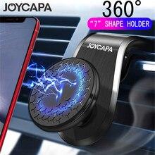 Suporte giratório magnético para celular, suporte de montagem magnética redondo, com clipe para saída de ar, suporte magnético com rotação, 360