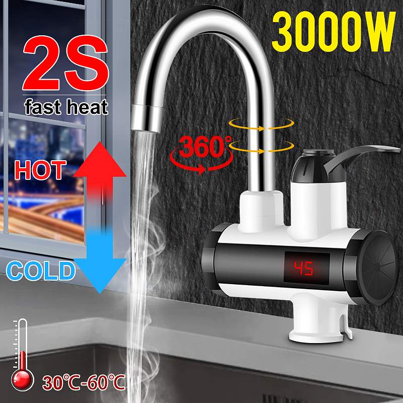 3000W Electric Kitchen Water Heater Tap Instant Hot Water Faucet Heater Cold Heating Faucet Tankless Instantaneous Water Heater