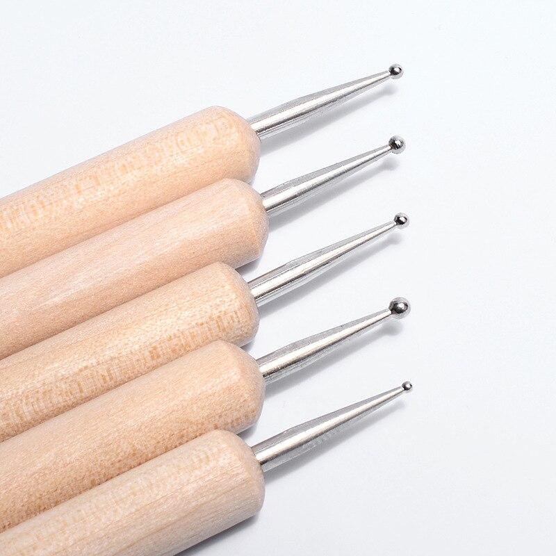 5 Pcs/Sets Nail Art Pen Double Headed Wooden Pole Dotting Drawing Painting UV Gel Liner Polish Brush Set Nail Art Dotting Tools