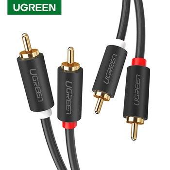 Ugreen 2RCA do 2 RCA z męskiego na męskie kabel Audio pozłacane kabel Audio RCA 2m 3m 5m dla kino domowe dvd wzmacniacz TV CD Soundbox