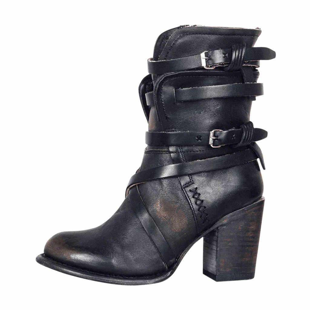 ローマ 2019 冬のブーツ女性の靴女性ファッションレトロスクエアハイヒール Ziper カジュアルシューズ zapatos デ mujer ドロップシッピング卸売